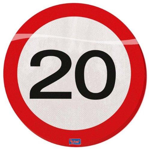 Preisvergleich Produktbild Folat 28320 Party Servietten Verkehrsschild (1 x 20 Stück)- Zahl 20