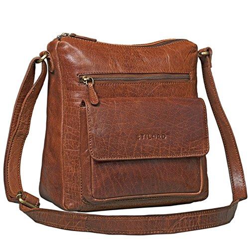 STILORD Vintage Umhängetasche für Damen Schultertasche Handtasche Ausgehen Freizeit Abendtasche Büffel Leder glänzend braun - Womens Braun Leder