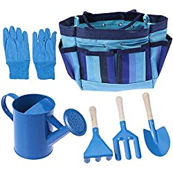 AMITD Ensemble d'outils de Jardinier de 6 pièces avec Sac d'outils de Jardinage pour Enfants, Le kit Comprend Un arrosoir, des Gants de Jardinage pour Enfants, Une Pelle, Un râteau