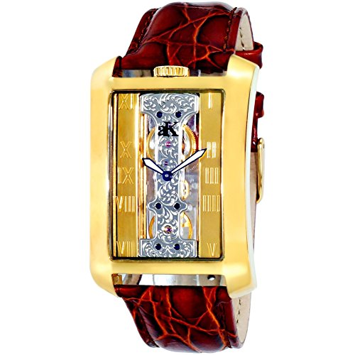 ADEE Kaye Men's Tablet Leather Band Steel CASE Mechanical Watch AK7171-MG