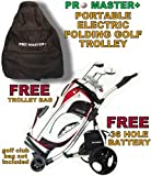 LIGHTWEIGHT PROMASTER PLUS DIGITAL FOLDING ELECTRIC GOLF TROLLEY CART CADDY WITH 36 HOLE BATTERY