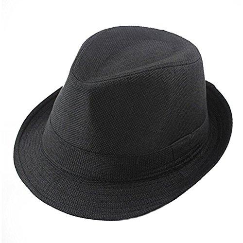 Hut Fedora Schwarz Kinder (LUOEM Fedora Hüte Kinder Tanzen Performance Cap Hut Gentleman Hut für Kopf Gurt von 56-58cm)