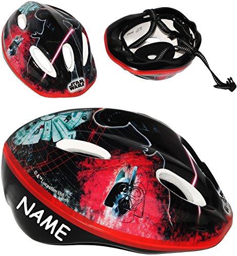 Kinderhelm - ' Star Wars - Darth Vader ' - incl. Name - Gr. 52 - 56 cm - circa 3 bis 15 Jahre - Fahrradhelm - Größen verstellbarer - mit Drehring / mitwachsender Helm -...