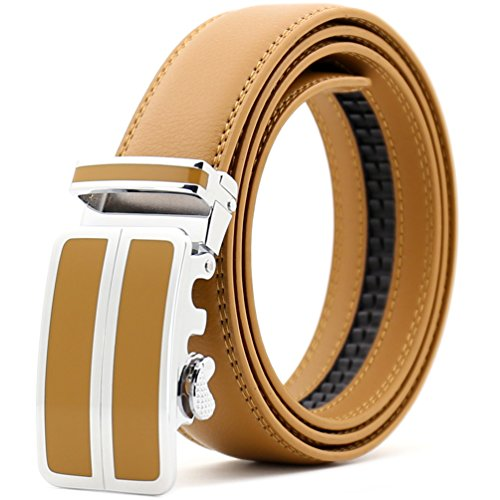 ITIEZY Men's Leather Belt with Automatic Buckle Men's Leather Casual Belt