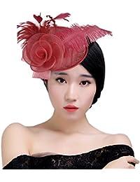 KAXIDY Mujer Sombreros de Vestir Sombrero Tocado Retro Clips de Pelo Niña Tocado de Cabeza
