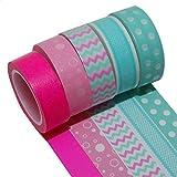 K-LIMIT 5 Set Washi Tape rollos de Washi Tape, cinta decorativa autoadhesivo, cinta de enmascarar, masking tapemasking tape scrapbooking, DIY 9530