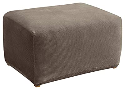 Sure Fit Stretch Pique 1-Piece - Ottoman Slipcover - Garnet