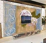 Wxlsl 3D Tapete Benutzerdefinierte 3D Blume Wandbilder Hortensie Geprägte Geprägte Tv Hintergrund Wohnzimmer Küche-250cmx175cm