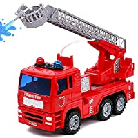 yoptote Fire Engine Toys Emergency Vehicles Fire Truck with Brights Lights and Water Pump Model Cars Construction Toys for Kids Toddlers 3 4 5 Year Olds