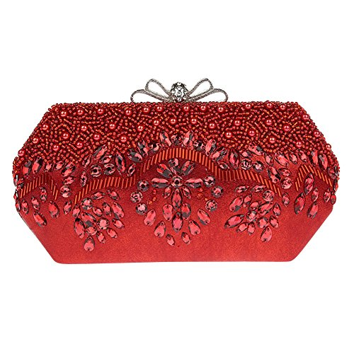 Genda 2Archer Donne Bowknot Sera Pochette di Cristallo Strass Borsetta (21cm * 3cm * 11cm) Rosso