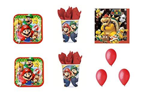 Super Mario Bros Luigi et fête - Kit N ° 19 CDC- (32, 32 verres, 40 assiettes 40 serviettes, 100 ballons rouges)