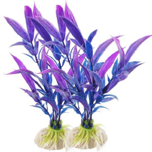 ank Blau Lila Kunststoff Pflanze Gras 15cm Höhe Ornament 2Pcs de ()