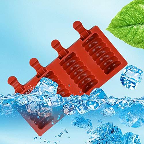Popsicle Formen Eisformen Aus Silikon, 4Gitter Haushalt Sommer-EIS Am Stiel Schimmel, Wiederverwendbar Öko-freundlich Material Hergestellt