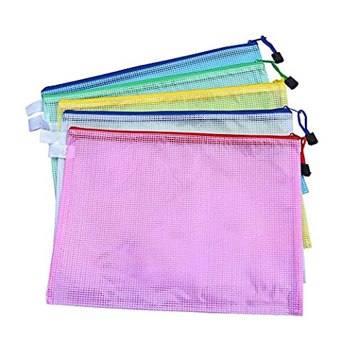 5 Pieces A4 Size Mesh Document Bag Zip File Bag with Zipper for Cosmetics Offices Supplies Travel