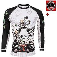 Tatami Rashguard Gentle Panda–Función Camiseta, BJJ MMA Grappling Compresión Camiseta, color Weiß, tamaño large