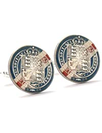 British Shilling Cufflinks Cuff Links Flag Coin Silver Hand Painted Vintage Antique Victorian England UK Army...