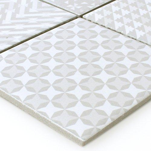 Keramik Mosaik Fliesen Zement Optik Geo Grau -