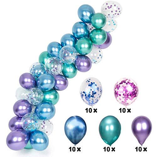 YiRAN 54 Stück Meerjungfrau Party Metallic Luftballons Ballonbogen-Kit für Babydusche Hochzeit Weihnachten Mädchen Kinder Geburtstag Luftballon Party Deko (Für Kinder, Luftballons Party)