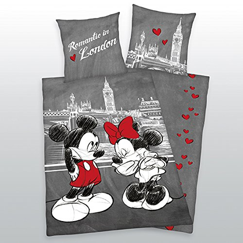 Ropa de cama Mickey + Minnie Mouse Ratón London Herding Cool 135x 200cm Nuevo WOW