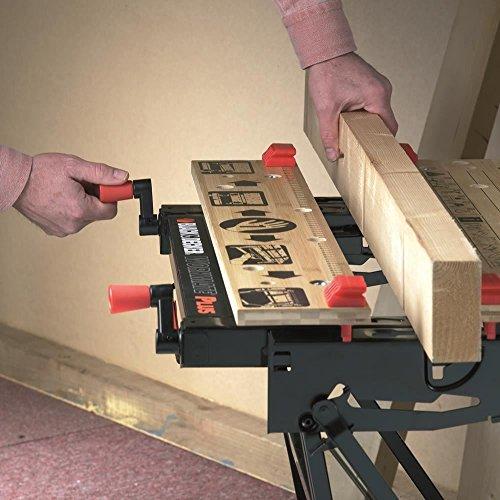 Black+Decker flexible Werkbank WM825 mit großer Arbeitsfläche / Exaktes Arbeiten dank Gradeinteilung und Orientierungslinien / Bis 250 kg belastbar / Maße (Arbeitsfläche): 74,0 x 25,0 cm - 4