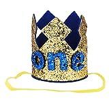 Freebily Baby Geburtstagskrone 1.Geburtstags Stirnband Hut Glänzend für Kinder Junge Mädchen Geburtstagsdeko Fotografie Party Kopfschmuck Gold One One Size