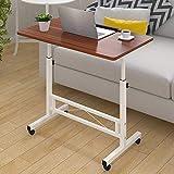 Tavolo regolabile per laptop mobile regolabile per laptop con ruote Tavolo per laptop in legno accanto al letto Divano-facile da regolare altezza e angolo, Marrone, JVCZ