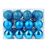 DomoWin Palline di Natale, Palline per Albero di Natale Palle Sfere Addobbi Albero di Natale Palline Addobbi Natalizie Palline Set con 24 Pezzi (3cm Azzurro)