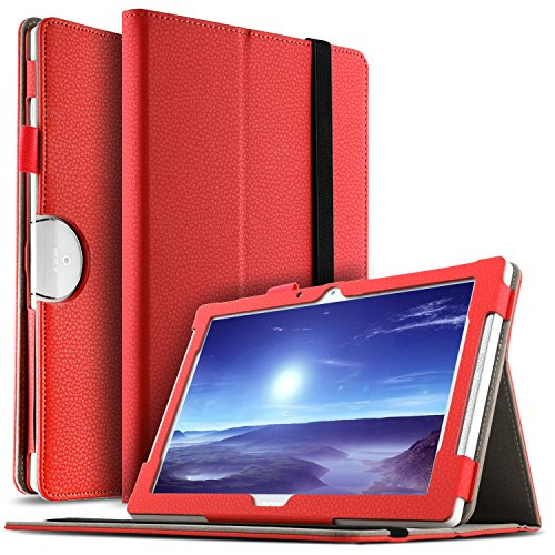 IVSO Acer Iconia Tab 10 (A3-A50) Hülle, Leder Tasche Schutzhülle mit Standfunktion für Acer Iconia Tab 10 A3-A50 2017 Tablet PC(10,1 Zoll), Rot