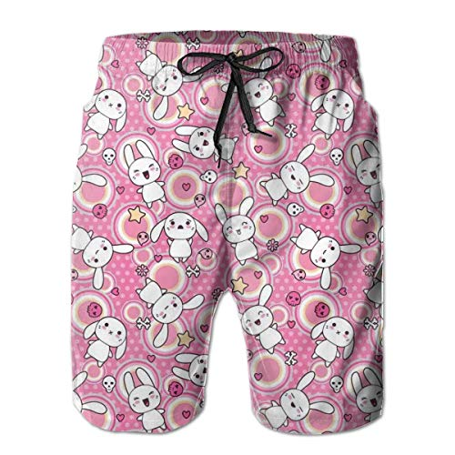 s Beach Shorts,Funny Kawaii Illustration with Rabbits Funky Cute Animals Bunnies Kids Humor Print White Pink,Quick Dry 3D Printed Drawstring Casual Summer Surfing Board Shorts XXL ()