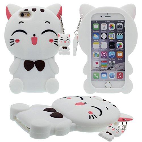 Apple iPhone 6S Coque Case, Mignonne 3D Cartoon Chat Animal Type Silicone Gel Doux Housse de Protection pour Apple iPhone 6 4.7 inch avec Chat Pendentif blanc