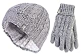 Heat Holders - Damen winter warm fleece beanie mütze und handschuhe set (Small/Medium, Grey)