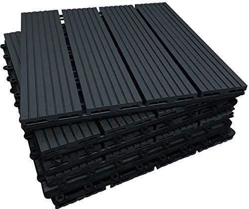 18x Composite Sonnendeck Fliesen-Ebenholz Farbe-click-deck-Verrieglung, Deck, Terrasse, Balkon, Dach, Garten Sonnendeck Kits-pflegeleicht Sonnendeck