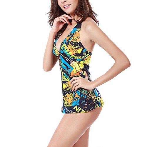 JIAJIA Damen Bikini-Set, Figur Mehrfarbig Mehrfarbig Gelb - Gelb