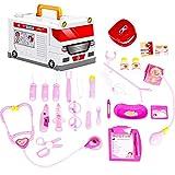 iShinè_Toy–Neceser de médico para Juguete de niño con Estetoscopio electrónico y 25Equipo médico simulaire