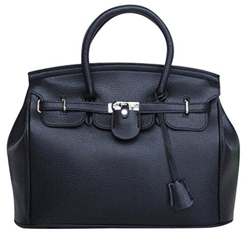 Kangrunmy semplice più grande capacità di cuoio donne spalla borsa borsetta borse donna tracolla grande (nero)