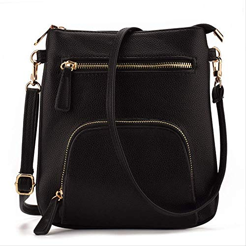 FMWLKJ  Small Vertical Front Sleeve Slim Women's Leather Crossbody Wallet Mini Shoulder Messenger Bag Tote 21cm*2cm*20cm Black -