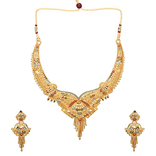 Eid Mothers Day Bridal Ethnic Traditional Gold Plated Necklace Choker Jewelry Set...