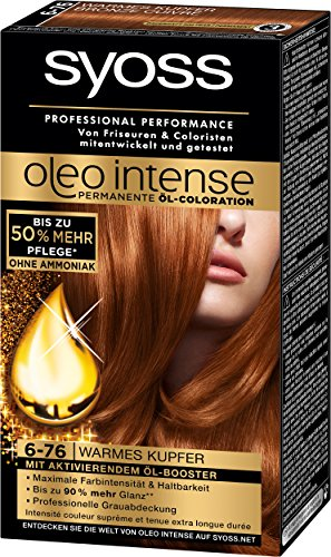 Syoss Oleo Intense Coloration 6-76 Warmes Kupfer, 3er Pack (3 x 115 ml) - Semi-permanente Haar-creme