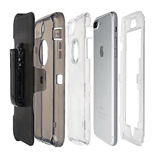 """xhorizon [PC+TPU] 3 Schichte Schutz-Hybrid-Rüstung haltbarer Stoßdämpfender gegen hohem Schlag aus starkem Gummi hybride verteidige Gehäuse-Bucht mit Gürtelclips für iPhone 7 Plus [5.5""""] schwarz Mit Back Clip Shell"""