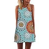 MOMOXI Vestido para Las Mujeres, Mini Vestido Corto Corto de Moda de la Vendimia de la impresión de la Playa del Verano de Las Mujeres de Boho Cuello Redondo Manga Larga Vestido De Las SeñOras