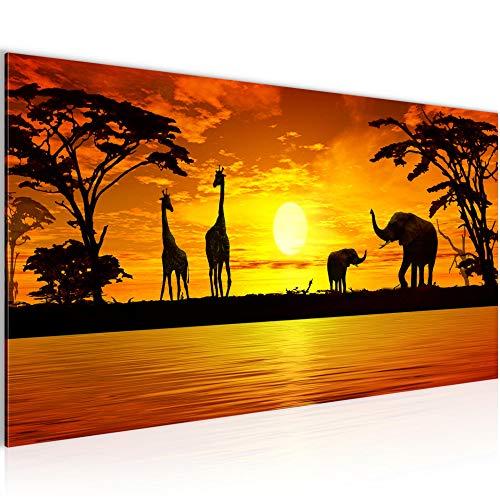 Bilder Afrika Sonnenuntergang Wandbild 100 x 40 cm Vlies - Leinwand Bild XXL Format Wandbilder Wohnzimmer Wohnung Deko Kunstdrucke Orang 1 Teilig - Made IN Germany - Fertig zum Aufhängen 000212a -