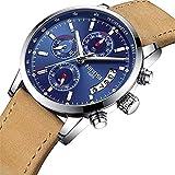 Nibosi Herren-Armbanduhr, luxuriöses Lederband, wasserdicht, Quarzuhrwerk, modische Armbanduhr + Geschenkbox