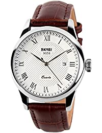 COOLANS Mens Watches Genuine Leather Band Date Calendar 30M Waterproof Wrist Watch Casual Business Dress Watch Luxury Roman Numeral Fashion Analogue Quartz Black Silver Gold Wrist Watches (silver)