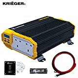 K KRIËGER Krieger 1100 Watts Power Inverter 12V to 230V, Modified Sine Wave Car Inverter, Dual 230 Volts UK/British AC Outlets, DC to AC Converter with Installation Kit Included - SGS CE Approved