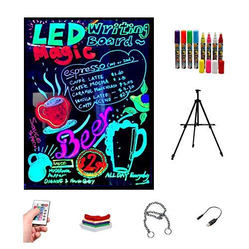 Pizarra LED luminosa 60x80cm, RGB, acrílica + TRÍPODE + PACK 8 ROTULADORES, ENTREGA 1-3 DÍAS