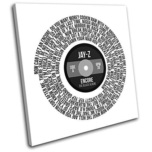 Bold Bloc Design - Jay-Z Encore Record Lyrics Vinyl Song Musical 40x40cm SINGLE Tela Art Print Box incorniciato appeso a parete foto - mano Made In UK - incorniciato e pronto da appendere - Canvas Art Print