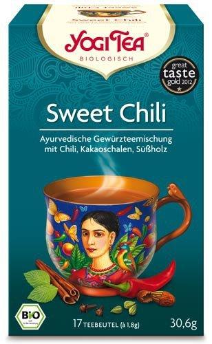 Yogi Tee, Sweet Chili Mexican Spice, 4er SPARPACK , Biotee, schenkt gute Laune und weckt Lebensgeister, je 17 Teebeutel a 30,6g