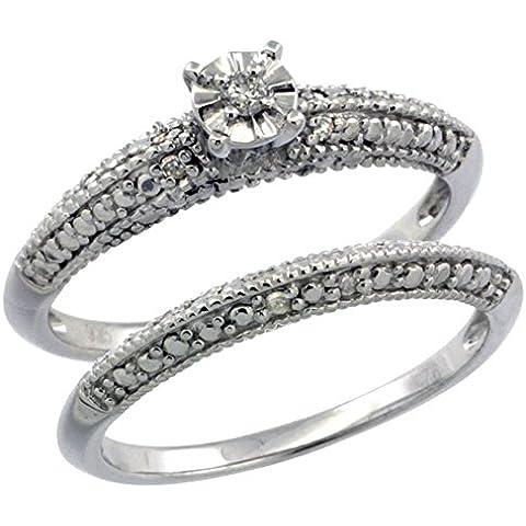 Revoni-Collana in argento Sterling stile Vintage, 2-Pc. 9-Anello di fidanzamento, pietra, Set w/.098 kt con diamanti taglio brillante, misure disponibili da J a