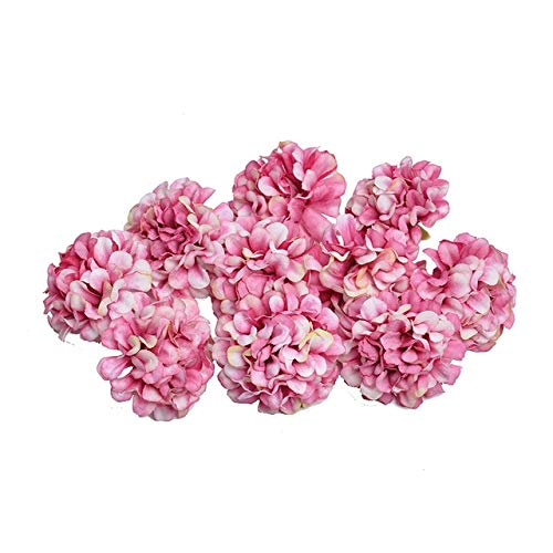 KKEINYE 10 Teile/los künstliche Blume Silk Hydrangea Blume Kopf für Hochzeit Dekoration DIY Kranz geschenkbox sammelalbum Handwerk Rose Rot