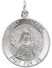 Plata de ley de Santa Teresa medalla 18 mm - JewelryWeb